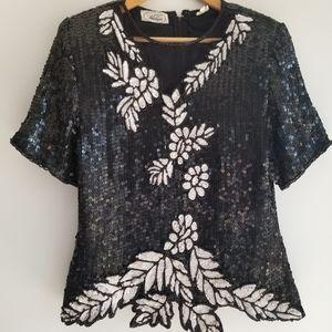 Vintage black sequin top